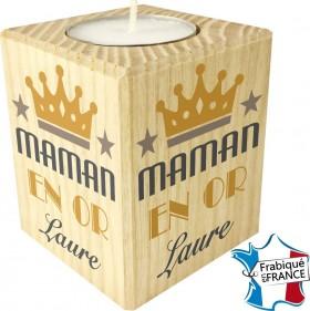 Porte Bougie personnalisable Maman en Or (mod12) - Cadeau personnalise personnalisable - 1