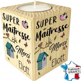 Porte Bougie personnalisable Super Maîtresse Merci (mod8) - Cadeau personnalise personnalisable - 1