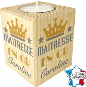 Porte Bougie personnalisable Maîtresse en Or (mod12) - Cadeau personnalise personnalisable - 1