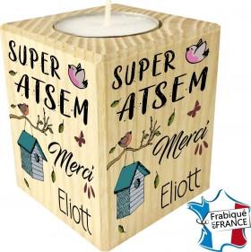 Porte Bougie personnalisable Super ATSEM merci (mod8) - Cadeau personnalise personnalisable - 1