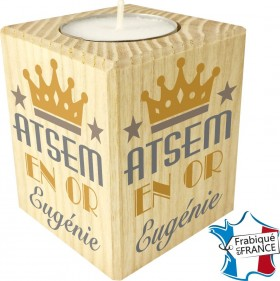 Porte Bougie personnalisable ATSEM en Or (mod12) - Cadeau personnalise personnalisable - 1