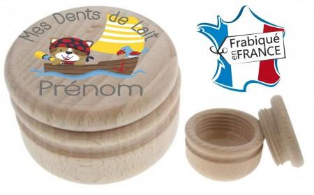Boite à Dents de Lait bois pirate - Cadeau personnalise personnalisable - 1