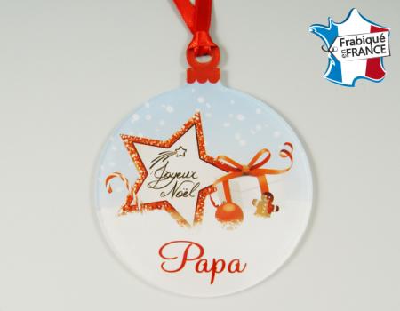 Déco de Sapin Joyeux Noel - Décor Noël Papa (bac48-1) - Cadeau personnalise personnalisable - 1