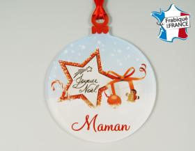 Déco de Sapin Joyeux Noel - Décor Noël Maman  (bac48-2) - Cadeau personnalise personnalisable - 1