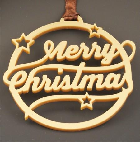 Déco de Sapin Merry Christmas - Couleur Or - Cadeau personnalise personnalisable - 1