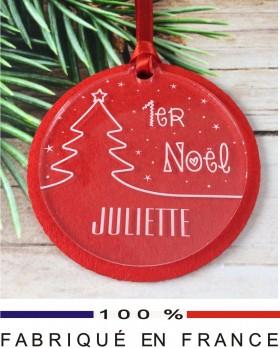 boule Mon 1er Noel feutrine 3 - Cadeau personnalise personnalisable - 1