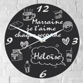 Horloge personnalisée je t'aime Marraine