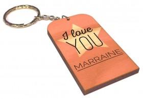 Porte clef I love you Marraine