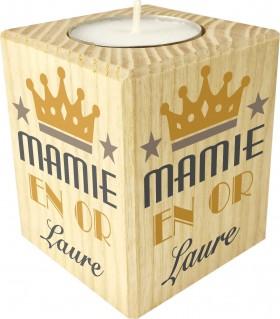 Bougie personnalisée mamie en or cadeau