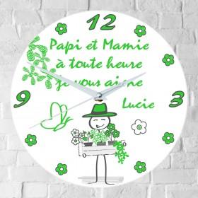 Horloge Papi et Mamie Personnalisée Mod.i - Cadeau personnalise personnalisable - 1