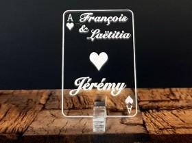 Marque Place As de Coeur personnalisé personnalisable- Jeu de carte -Décoration Table thème Poker- 1