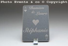 Marque Place As de Coeur personnalisé personnalisable- Jeu de carte -Décoration Table thème Poker- 2