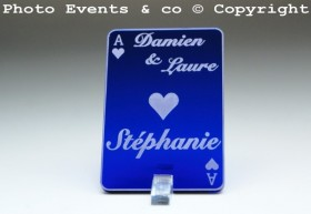 Marque Place As de Coeur personnalisé personnalisable- Jeu de carte -Décoration Table thème Poker- 3