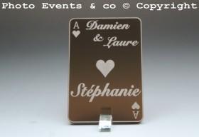 Marque Place As de Coeur personnalisé personnalisable- Jeu de carte -Décoration Table thème Poker- 4