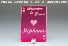 Marque Place As de Coeur personnalisé personnalisable- Jeu de carte -Décoration Table thème Poker- 5