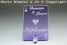 Marque Place As de Coeur personnalisé personnalisable- Jeu de carte -Décoration Table thème Poker- 6