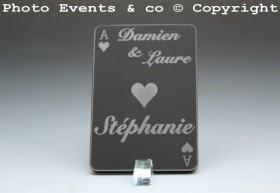 Marque Place As de Coeur personnalisé personnalisable- Jeu de carte -Décoration Table thème Poker- 7