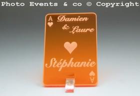 Marque Place As de Coeur personnalisé personnalisable- Jeu de carte -Décoration Table thème Poker- 8