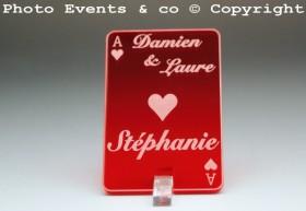 Marque Place As de Coeur personnalisé personnalisable- Jeu de carte -Décoration Table thème Poker- 9