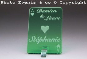 Marque Place As de Coeur personnalisé personnalisable- Jeu de carte -Décoration Table thème Poker- 10