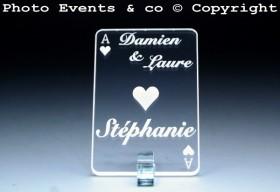 Marque Place As de Coeur personnalisé personnalisable- Jeu de carte -Décoration Table thème Poker- 11