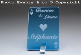 Marque Place As de Coeur personnalisé personnalisable- Jeu de carte -Décoration Table thème Poker- 12