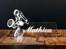 Marque Place Vélo Cross personnalise personnalisable - Decoration table enfant anniversaire - 1