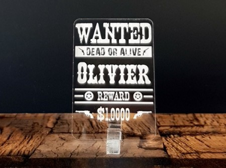 Marque Place Western Cowboy Wanted personnalise personnalisable - Decoration theme farwest 1