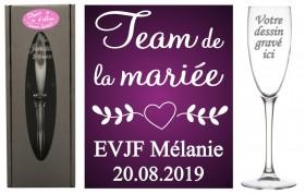 Flûte gravée - EVJF Team la mariée - Cadeau personnalise personnalisable - Souvenir d'un EVJF - 1