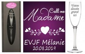 Flûte gravée - EVJF Call me Madame - Cadeau personnalise personnalisable - souvenir d'un EVJF- 1
