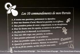 10 Commandements Parrain Marraine personnalisé baptême communion