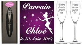 Flûtes Parrain Marraine Fée Clochette - Cadeau personnalise verre