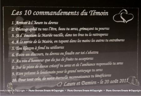 Les 10 Commandements du Témoins de Mariage - Cadeau personnalise personnalisable - 1
