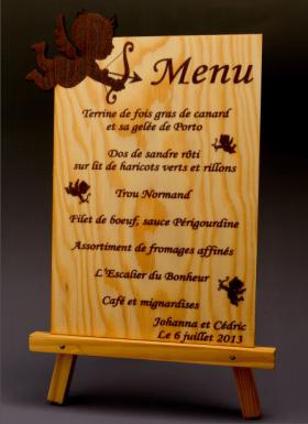 Menu Ange en bois - Cadeau personnalise personnalisable - 1