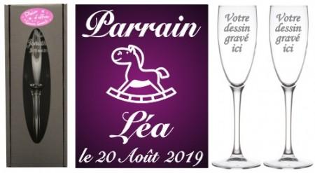 Lot 2 flûtes Parrain Marraine (mod. Cheval) - Cadeau personnalise personnalisable - 1