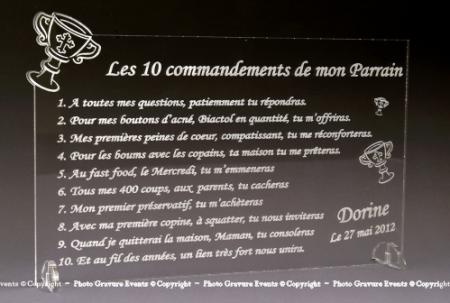 10 Commandements Parrain Marraine - Modèle Calice - Cadeau personnalise personnalisable - 1