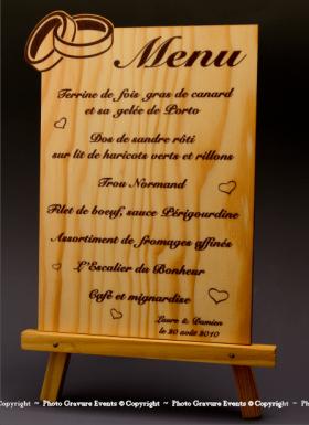 Menu Alliances en bois - Cadeau personnalise personnalisable - 1