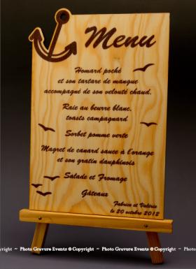 Menu Ancre en bois - Cadeau personnalise personnalisable - 1
