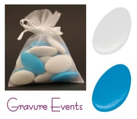 Sachet Dragées - Palet Turquoise + Palet Blanc - Cadeau personnalise personnalisable - 1