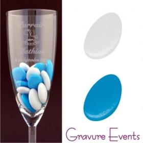 Sachet Dragées - Palet Turquoise + Palet Blanc - Cadeau personnalise personnalisable - 2