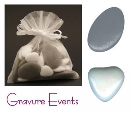 Sachet Dragées - Palet Gris + Mini Coeur Blanc - Cadeau personnalise personnalisable - 1