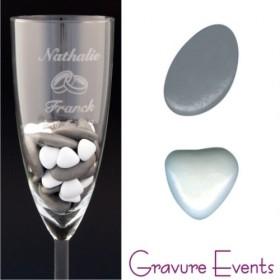 Sachet Dragées - Palet Gris + Mini Coeur Blanc - Cadeau personnalise personnalisable - 2