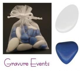 Sachet Dragées - Palet Blanc + Mini Coeur Bleu Océan - Cadeau personnalise personnalisable - 1