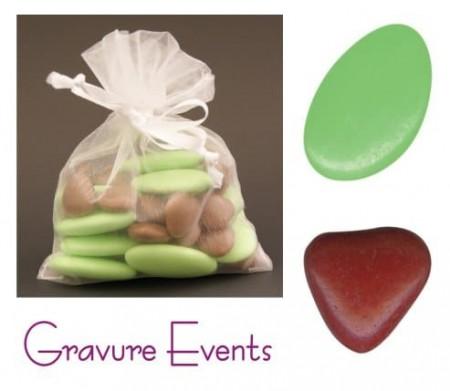 Sachet Dragées - Palet Tilleul + Mini Coeur Taupe - Cadeau personnalise personnalisable - 1