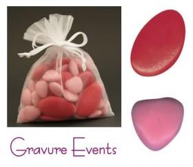Sachet Dragées - Palet Framboise + Mini Coeur Rose Nacré - Cadeau personnalise personnalisable - 1