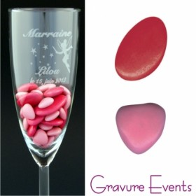 Sachet Dragées - Palet Framboise + Mini Coeur Rose Nacré - Cadeau personnalise personnalisable - 2