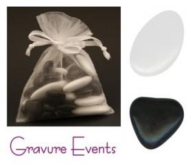 Sachet Dragées - Palet Blanc + Mini Coeur Noir - Cadeau personnalise personnalisable - 1