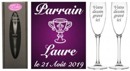 Lot 2 flûtes Parrain Marraine (mod. Calice) - Cadeau personnalise personnalisable - 1
