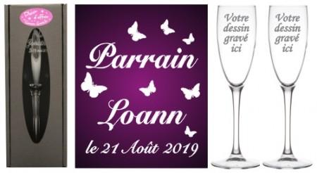 Lot 2 flûtes Parrain Marraine (mod. Papillon) - Cadeau personnalise personnalisable - 1