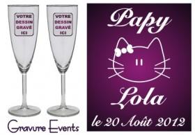 Lot 2 Flûtes Papy Mamy (mod. Chat) - Cadeau personnalise personnalisable - 1